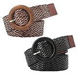 KESYOO 2 Piezas de Tejido de Cintura Estilo Étnico Cinturones de Diseñador de Moda para Mujeres para Mujeres Vestidos Jeans (Negro Café)