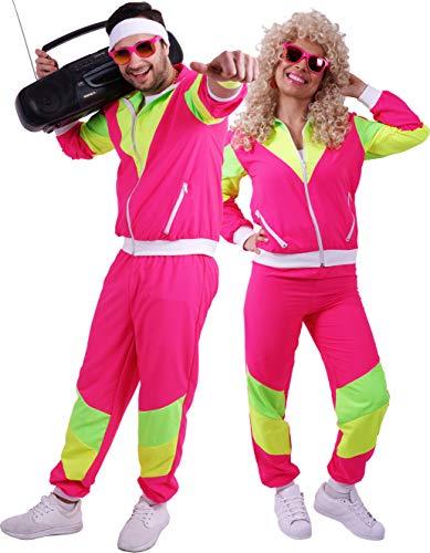 FetteParty1A - 80-er 90-er Jahre Erwachsenenkostüm, Deluxe Trainingsanzug - Jogginganzug, Jacke und Hose ,Mehrfarbig Pink/Gelb/Grün Mottoparty Karneval JGA (L)