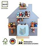 BOARTI Kinder Regal Haus small in grau - geeignet für die Toniebox und ca. 25 Tonies - zum Spielen...