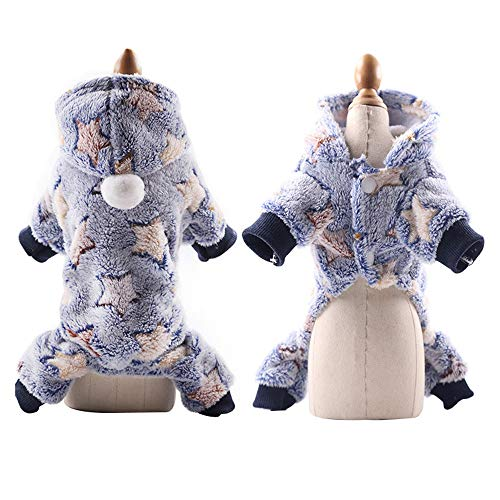 pawstrip Puppies Pajamas Winter Dog Hoodie Clothes with Button Warm Flannel Pet Pjs for Small Dogs and Cats Navy Blue Star XS