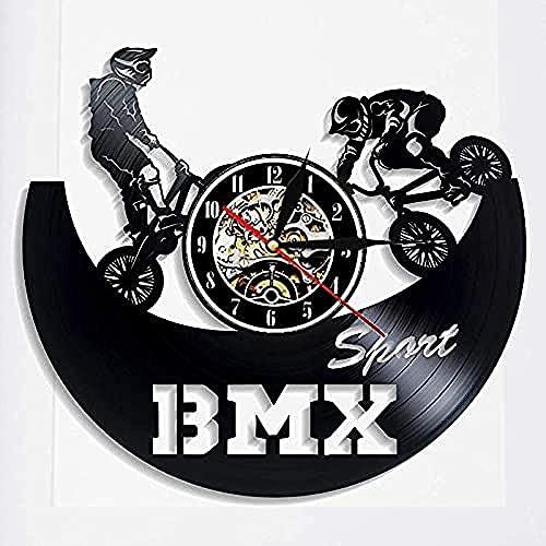 Disco de Vinilo Movimiento de Reloj de Pared diseño Moderno Movimiento de Ciclo Tema Colgante de Vinilo Reloj de Pared Reloj decoración del hogar Regalo Jinete