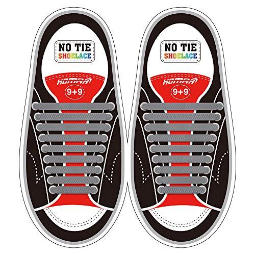 Homar No Tie Lacci per scarpe per bambini e adulti - Impermeabile in silicone elastico piatto Laces Athletic scarpa da corsa con multicolore per Scarpe Sneakerboots bordo e scarpe casual (Adult Size Gray)