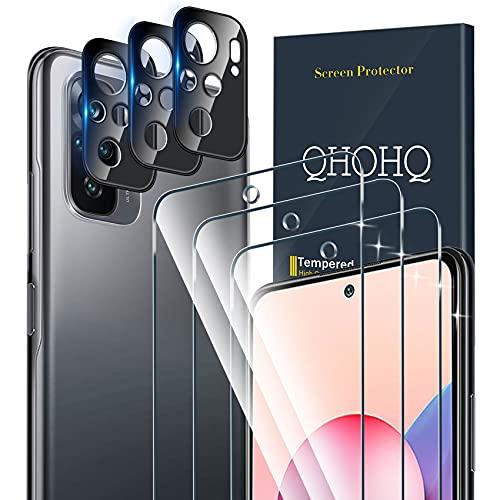 QHOHQ 3 Pezzi Pellicola Protettiva per Xiaomi Redmi Note 10/Note 10S (Not Suitable Note 10 5G) con 3 Pezzi Fotocamera Pellicola Protettiva,Vetro Temperato Membrana,Durezza 9H - HD - Anti-Graffio