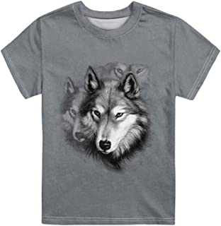 Showudesigns Animal Print Kids T-Shirt for Boys Girls Short Sleeve Crewneck Youth Tee Top 3-16 Years