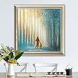 ganlanshu Quadro Senza Cornice Gesù Cristo Gesù Tela BLU Poster e Stampa Foto murale per soggiorno pittura a Olio 50X50cm