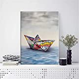 XIAOMA Lienzo para pared con diseño de barco de papel de origami y grafiti, para salón, dormitorio, decoración, sin marco (60 x 80 cm)