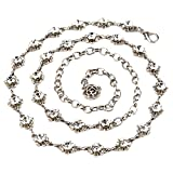 QTALKIE Sparking Crystal Rhinestones Flower Body Chain for Skirt Beach Belly Body Waist Chain Jewelry Necklace for Women (Silver)
