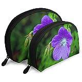 Violet Flower Bolsas portátiles Bolsa de Maquillaje Bolsa de Aseo, Bolsas de Viaje portátiles multifunción Pequeña Bolsa de Embrague de Maquillaje con Cremallera