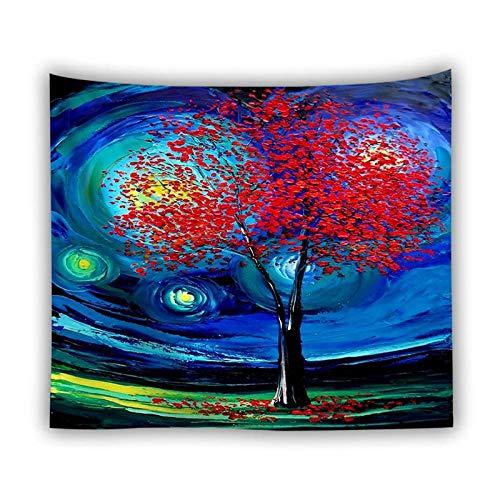 UUAPEERJ Tapiz de Noche Estrellada Van Gogh Pintura Abstracta Arte de Pared 3D Tapiz Azul para Colgar en la Pared decoración del hogar Tapiz de Gran tamaño-90x69 Pulgadas_Color-D