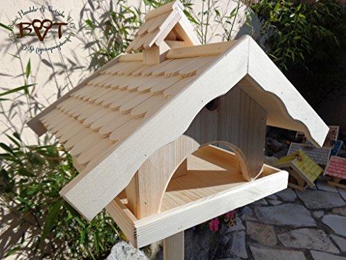 Vogelhaus,groß,mit Nistkasten,BEL-X-VONI5-natur002 Großes wetterfestes PREMIUM Vogelhaus VOGELFUTTERHAUS + Nistkasten 100% KOMBI MIT NISTHILFE für Vögel WETTERFEST, QUALITÄTS-SCHREINERARBEIT-aus 100% Vollholz, Holz Futterhaus für Vögel, MIT FUTTERSCHACHT Futtervorrat, Vogelfutter-Station Farbe natur, MIT TIEFEM WETTERSCHUTZ-DACH für trockenes Futter