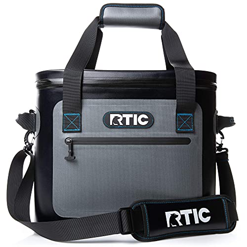 RTIC Soft Cooler 30, Blue/Grey, Insulated Bag, Leak Proof Zipper, Keeps Ice Cold for Days
