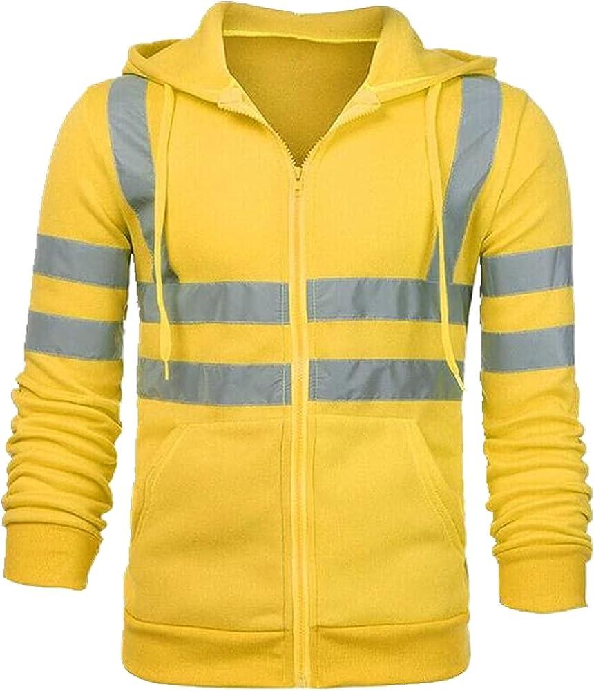 Men Hooded Ski Hoodies Visibility Workwear Coat Color Block