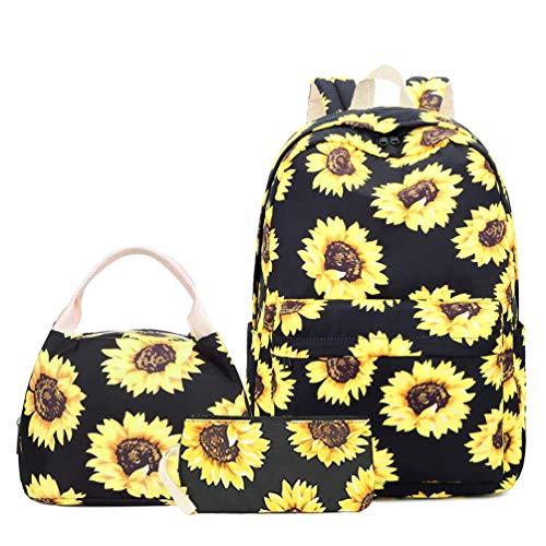 "Teen Girls School Backpack Women Sunflower Backpack Fits 15.6"" College Schoolbag Women Canvas Backpack Set with Lunch Bag (Black)"