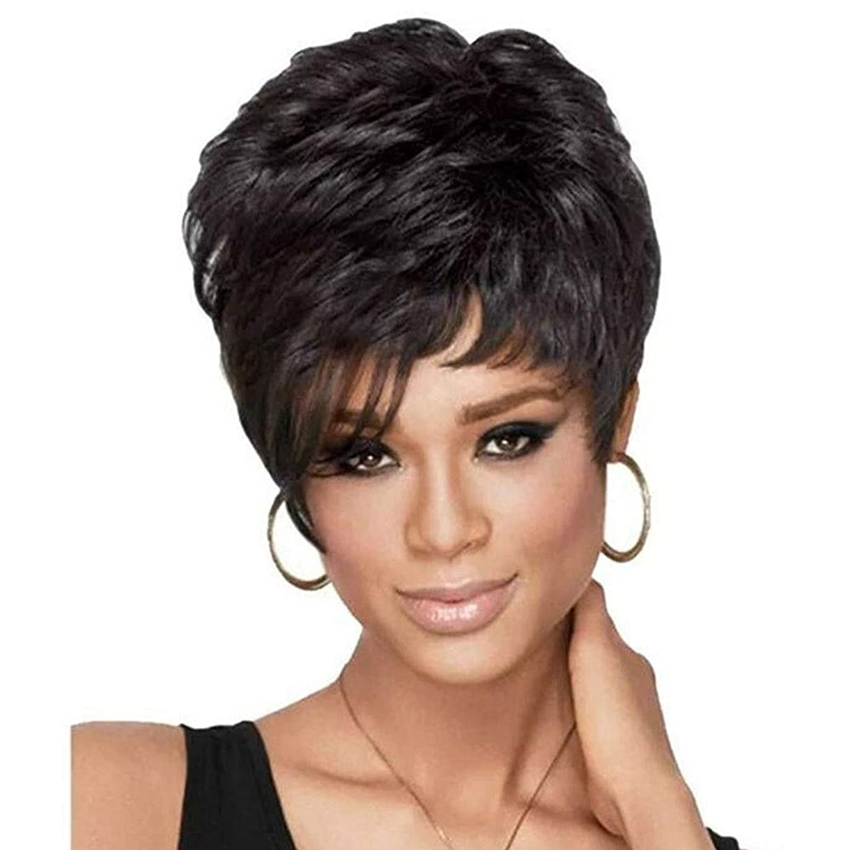 然とした階層現金Yrattary レディースショートヘアファッションアフリカンブラックウィッグレディースデイリーヘアウィッグコンポジットヘアレースウィッグロールプレイングウィッグ (色 : 黒)