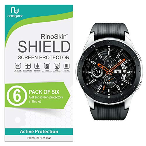 (6-Pack) RinoGear Screen Protector for Samsung Gear S3 Frontier/Classic/Galaxy Watch 46mm Case Friendly Gear S3 Frontier Classic Galaxy Watch 46mm Screen Protector Accessory Clear Film