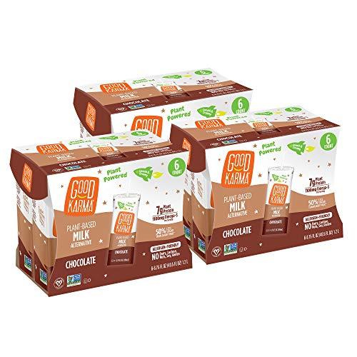 Good Karma Non Dairy Flaxmilk (Chocolate - 6.75 oz, Pack of 18) Lactose Free Milk Lunchbox Carton, Plant Based Vegan Milk Alternative