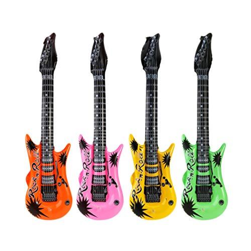 Supvox 4 stücke aufblasbare rockstar spielzeug set aufblasbare gitarre spielzeug für kinder musik party requisiten gastgeschenke geschenke (gelegentliche farbe)