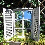 Deko-Impression Wunderschöner Wandspiegel Fensterläden Landhaus Creme Shabby-Chic 59cm