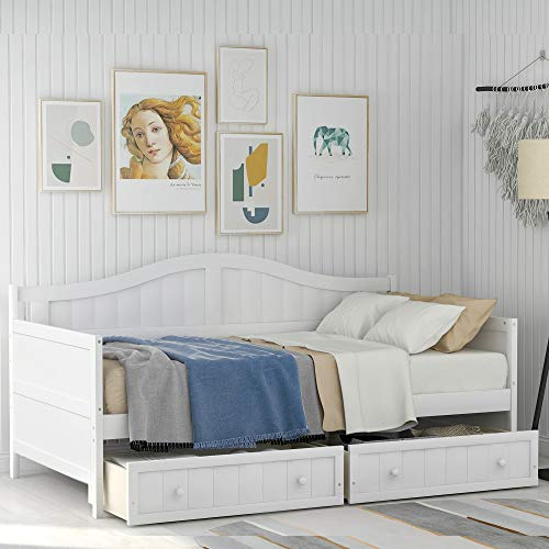 Twin Wooden House Daybed with Trundle Bed OR 2-Drawers,Sofa Bed Platform Bed Frame for Bedroom Living Room,No Box Spring Needed (White Daybed with Drawers)