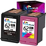 ColoWorld HP用 62 xl 大容量 リサイクル インクカートリッジ 62xl ブラック+3色カラー 2個セット ICチップ付 残量表示 対応機種:Envy 7640 7645 5660 5540 8000 5640 5643 5661 OfficeJet 200 250 5745