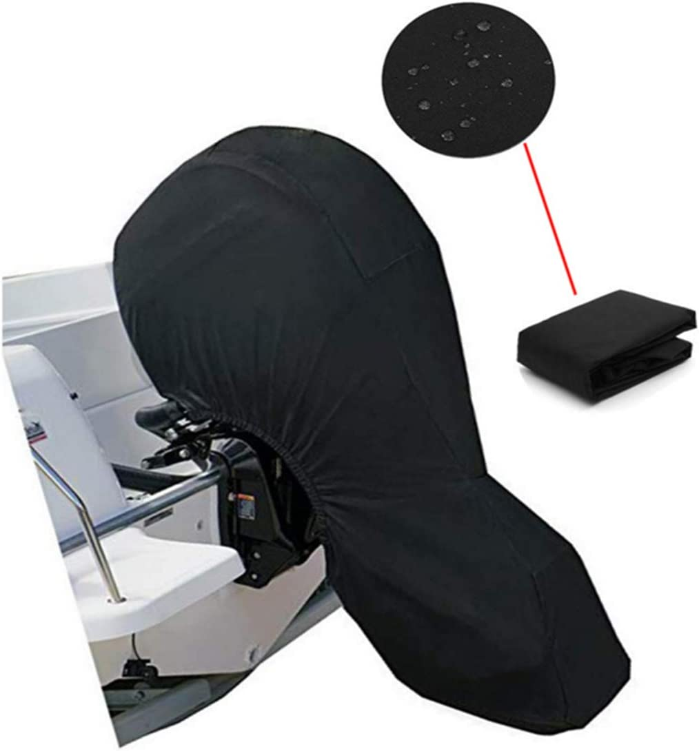 Black 30-60HP Boat Covers Boat Storage Full Cover with 600D Heavy Duty Oxford Fabric PENCK Outboard Motor Covers Waterproof Outboard Engine Covers for Motor
