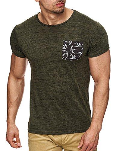 Indicode Herren Blaine T-Shirt mit Rundhals-Ausschnitt und Brust-Tasche | Slim Fit Kurzarm Shirt Herrenshirt Sommer Tee meliert Männershirt Markenshirt Freizeitshirt für Männer Grün L