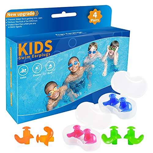 Swimming Ear Plugs for Kids, Upgraded 4 Pairs Waterproof Reusable Silicone Ear Plugs for Swimming Diving Children Molded Professional Soft Flexible Showering Surfing(Blue Orange Green Pink)