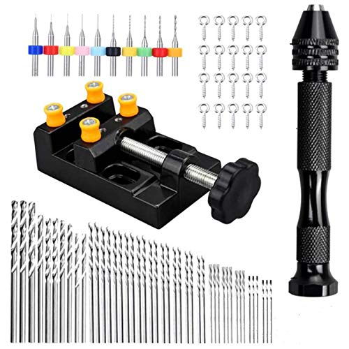Tuneway Hand Drill Bits, 0.5-3.0mm Twist Drill Bits with Bench Vice Carving Clamp for DIY Jewelry Keychain Pendant Making Craft