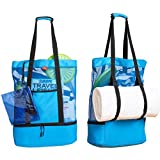 Sun Society Bag - 3 in 1 Beach Bag with Cooler, Towel Holder +...