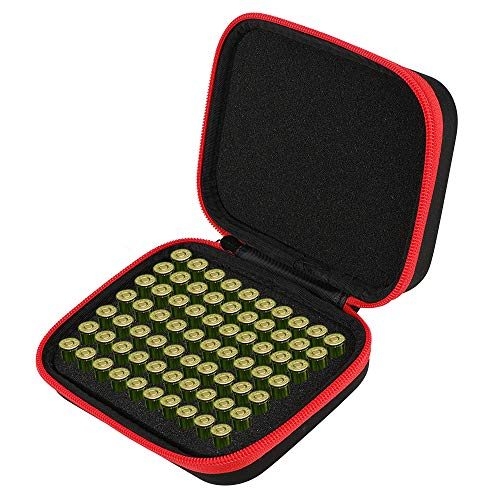 Brappo Hard Carrying Case Compatible with 70PCS Round Flip-Top Ammo Box 380/9MM Cal (Black)