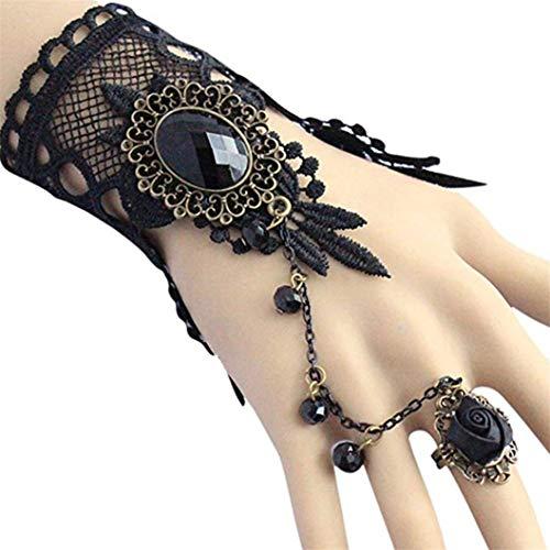 INSEET Armband Armreif Gotik Schwarze Spitze Blume Rose Ring Armband Für Die Dame