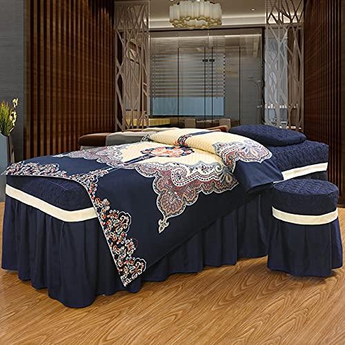 Tratamiento de spa Salón de belleza Mesa de masaje Falda de cama, Juegos de sábanas de mesa de masaje, Falda de mesa de microfibra Juego de 4 piezas Funda de cama de belleza Colcha de cama de salón
