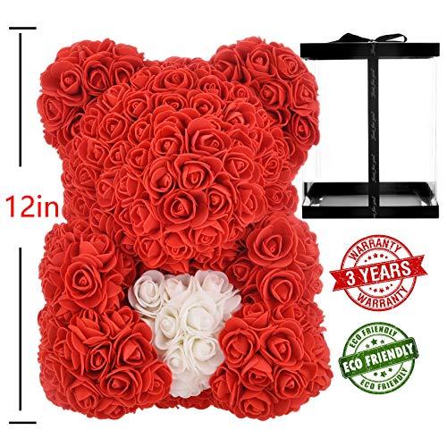 AZXU Rosenbär – Rose Teddybär auf jedem Blumenbär, perfekt für Jahrestage, durchsichtige Geschenkbox im Lieferumfang enthalten 30,5 cm rot