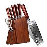Kitchen Knife Set Professional 5 Piece - Yarenh Chef Knife Set - Japanese High Carbon Damascus Steel Blade - Pakka Wood Handle - Gift Box Packaging - Sharp Vegetable Knives Sets HYZ-Series