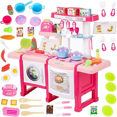 Kinderplay Cocina de Juguete, Cocinita de Juguete - con Características de Sonidos, Luces y Agua, Incluye 36 Accesorios, para Ninos, Una Tostadora Operando, KP6030