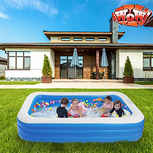 """TOEIGEYNR Best Inflatable Swimming Pool,120"""" X 72"""" X 22"""" Big Kiddie Pools, Thicker Wear Family Lounge Pools for Kids, Adults, Babies, Toddlers, Outdoor, Garden, Backyard,Summer Water Party"""