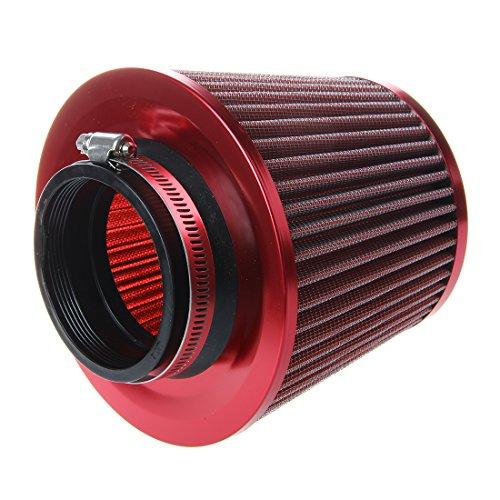 Dasing Filtro dell aria universale per auto, filtro dell aria di scambio, lavabile e riutilizzabile per veicoli a induzione High Power Mesh coni finitura rossa
