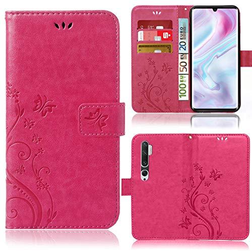numerva Funda compatible con Xiaomi Mi Note 10 y Mi Note 10 Pro, funda para teléfono móvil, funda con tarjetero, diseño de flores, color rosa