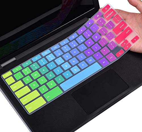 Colorful Keyboard Cover for Dell 11.6 Chromebook 3100 / Dell Chromebook 11 3120 3180 3181 3189 5190 P22T 11.6' / Dell Chromebook 13 3380 13.3' Protective Skin, Dell Chromebook Accessories, Rainbow