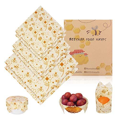 BHY Envoltorio Cera De Abeja 6Pcs Envoltorios para Alimentos Reutilizable Envolver Eco-Friendly Mantiene Comida Fresco para Sándwich, Bocadillos, Frutas (2 Pequeño / 2Mediano / 2 Grande)