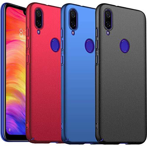 KZIOACSH [3 Pack] Funda para Xiaomi Redmi Note 7,[Ultra Slim],[Anti-Rasguño] Protectora Caso de Duro Cover Case para Xiaomi Redmi Note 7 - Negro,Rojo,Azul