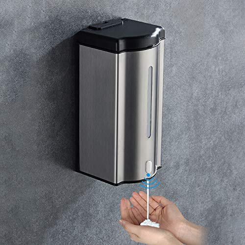 HAJZF Automatic Hand Liquid Soap Dispenser, Infrared Touchless Sensor Liquid Dish Soap Pump, 600Ml Stainless Steel Automatic Induction Soap Dispenser