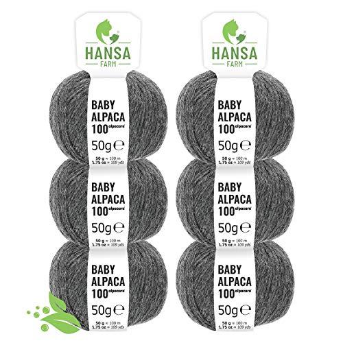 Alpacare 100% Waschbare Baby Alpakawolle in 25 Farben - 300 Set DK (6 x 50g) - Die 1. Maschinenwaschbare 100% Waschbare Alpaca Wolle - Kratzfreie Alpaka Wolle zum Stricken & Häkeln - Dunkelgrau