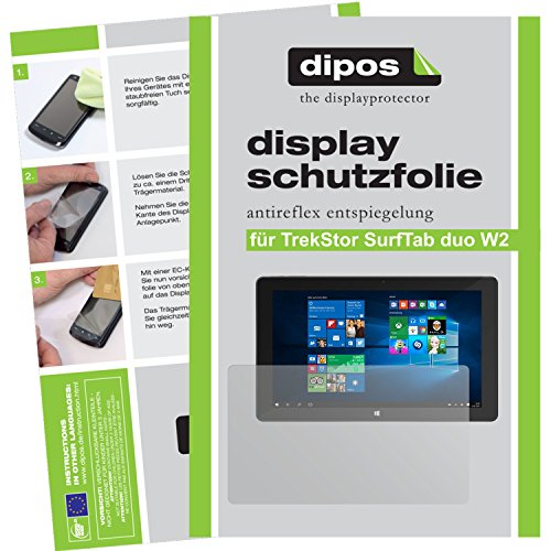 dipos I 2X Schutzfolie matt kompatibel mit TrekStor SurfTab Duo W2 Folie Bildschirmschutzfolie