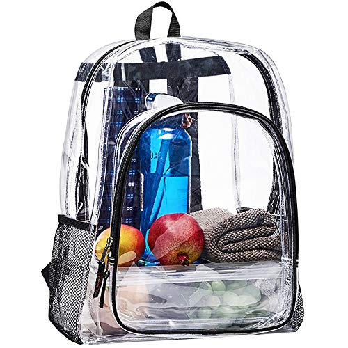 Heavy Duty Clear Backpack, Large Transparent Clear Bookbag, See Through Backpack for College, Work, Security Travel & Sports
