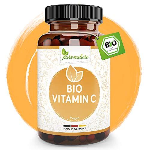 Natürliches Bio Vitamin C - 180 Vegan Kapseln - Für Immun- und Nervensystem - BIO zertifiziert - Rein ohne Zusätze - Maximale Bioverfügbarkeit