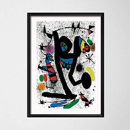 JYWDZSH Impresión De La Lona Joan Miro Surrealismo Moderno Pinturas Artísticas Cuadro Abstracto Arte Retro Lienzo Pintura Cartel Decoración para El Hogar, como Se Muestra, 30X40Cm Sin Marco