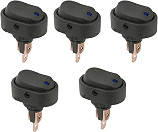 ESUPPORT 5 X 12V 30A Car Auto Vehicle Blue LED Light Push Button Rocker Toggle Switch On Off Spst 3 Pin Control