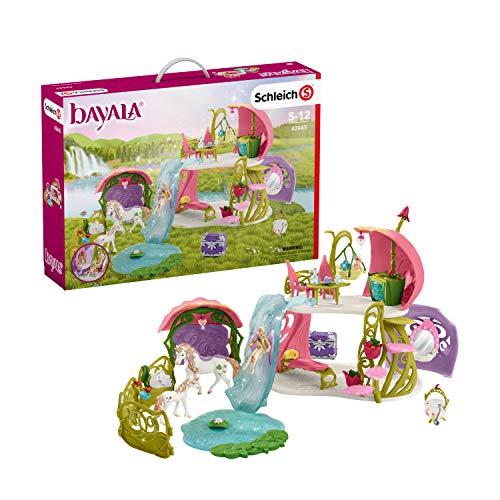 Schleich 42445 bayala Spielset - Glitzerndes Blütenhaus mit Einhörnern, See und Stall, Spielzeug ab 5 Jahren