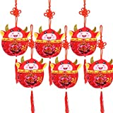 Eshylala 6 PCS Ox Plush Toy 2021 Chinese New Year Red Lucky Cow Hanging Pendants Plush Toy Mascot Plush Doll Stuffed Cattle Plush Pendants for 2021 Chinese Ox New Year Home Car Hanging Deco
